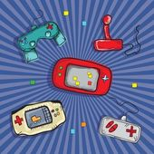 Video Games Icons ( Retro Consoles and controls) on blue background Vector