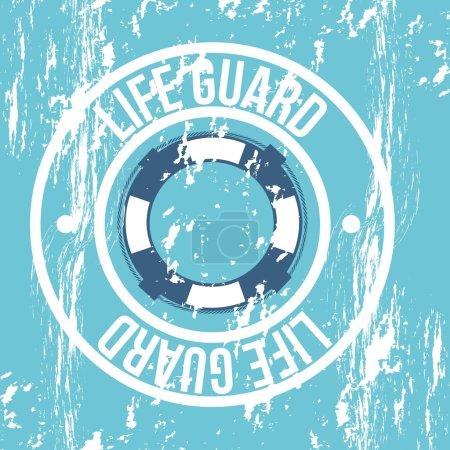 Illustration for Life guard seal over blue background. vector illustration - Royalty Free Image