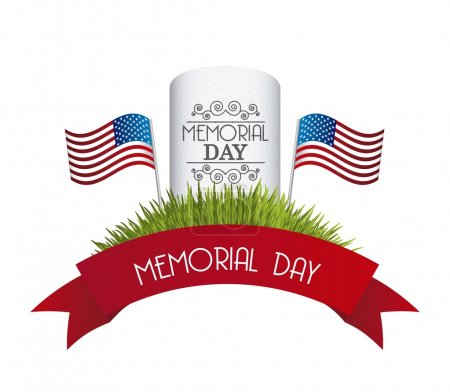 Illustration for Memorial day card over white background. vector illustration - Royalty Free Image
