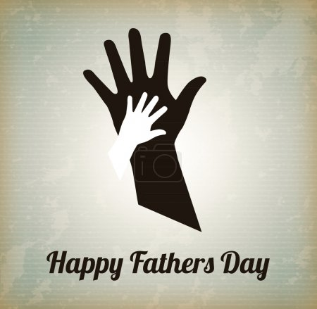 Illustration for Happy Fathers day with two hands over vintage background - Royalty Free Image