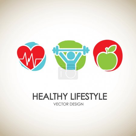 Illustration for Healthy lifestyle icons over vintage background vector illustration - Royalty Free Image