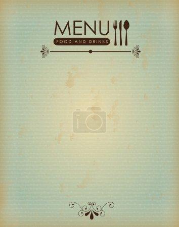 Illustration pour Menu alimentaire sur fond en bois illustration vectorielle - image libre de droit