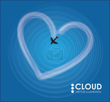 heart shaped cloud and plane
