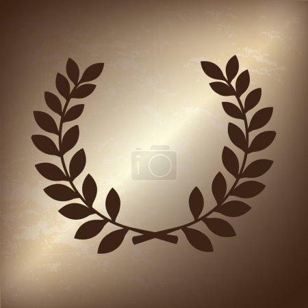 Illustration for Olive branch over bronze background vector illustration - Royalty Free Image