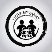 I love my family seal over gray background vector illustration