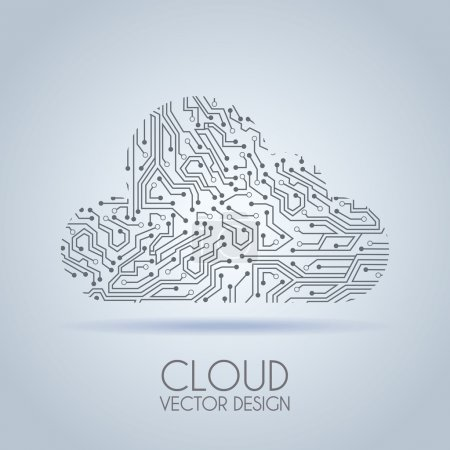 Illustration for Cloud circuit over gray background vector illustration - Royalty Free Image