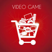 Video game shopping over red background vector illustration