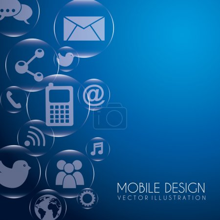 Illustration for Mobile design over blue background vector illustration - Royalty Free Image