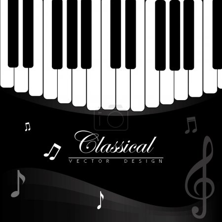 Illustration for Classical music over piano background vector illustration - Royalty Free Image