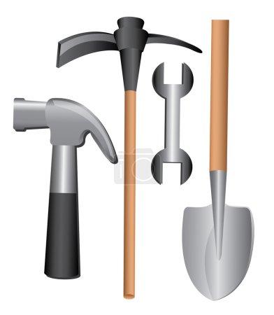 Illustration pour Conception d'outils sur fond blanc illustration vectorielle - image libre de droit