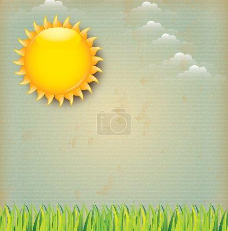 Illustration for Landscape vintage over sky background vector illustration - Royalty Free Image
