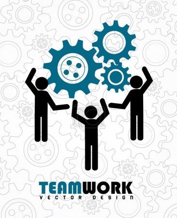Illustration for Team work over gears background vector illustration - Royalty Free Image