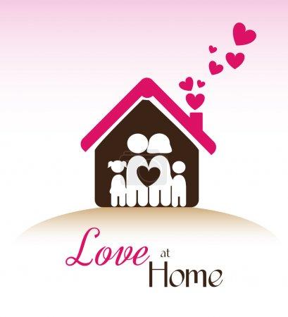 Illustration pour Amour à la maison sur fond rose illustration vectorielle - image libre de droit