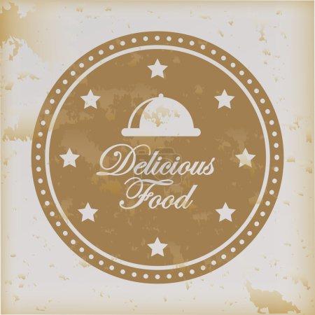 Illustration pour Délicieuse nourriture sur fond vintage illustration vectorielle - image libre de droit