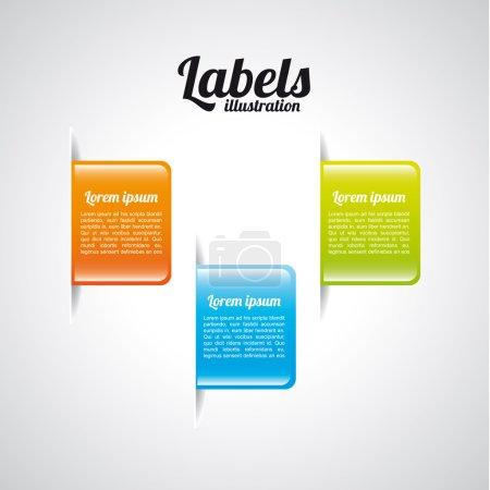 Ilustración de Diseño de etiquetas sobre ilustración vectorial fondo gris - Imagen libre de derechos