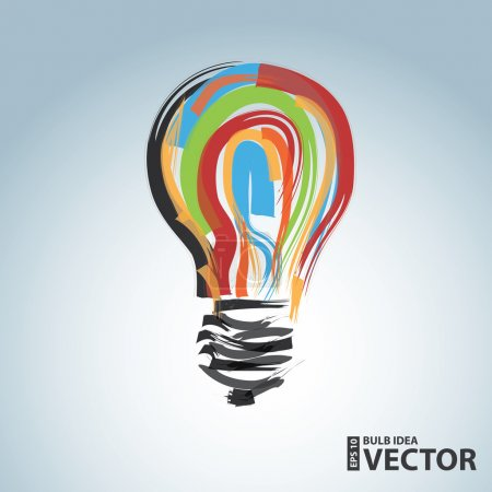 Illustration for Bulb idea design over blue background vector illustration - Royalty Free Image