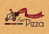 Fast pizza over vintage background vector illustration