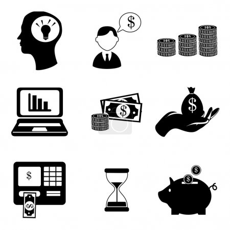 Illustration pour Finances icônes sur fond blanc illustration vectorielle - image libre de droit