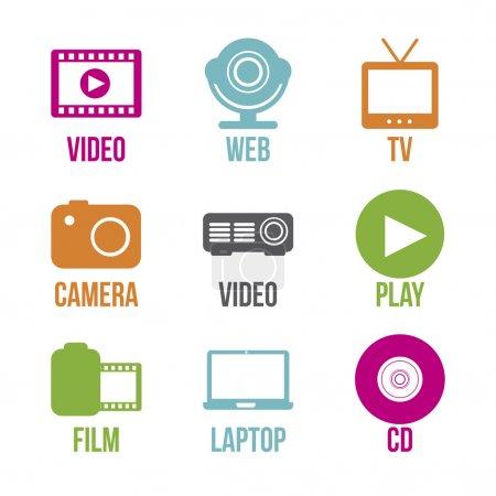 Illustration pour Icônes vidéo sur fond blanc illustration vectorielle - image libre de droit