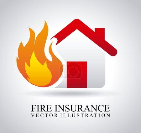 Illustration pour Assurance incendie sur fond gris vecteur, illustration - image libre de droit