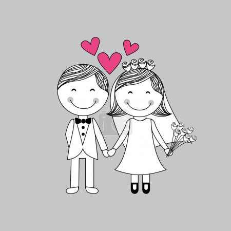 Illustration for Wedding design over purple background vector illustration - Royalty Free Image