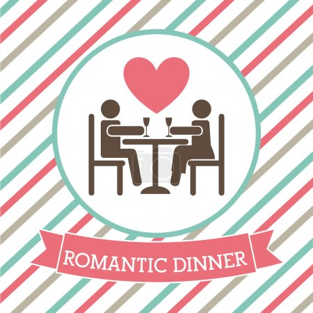 Illustration for Romantic dinner over lineal background vector illustration - Royalty Free Image