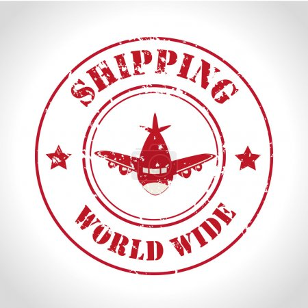 Illustration for Shipping world wide over gray background vector illustration - Royalty Free Image