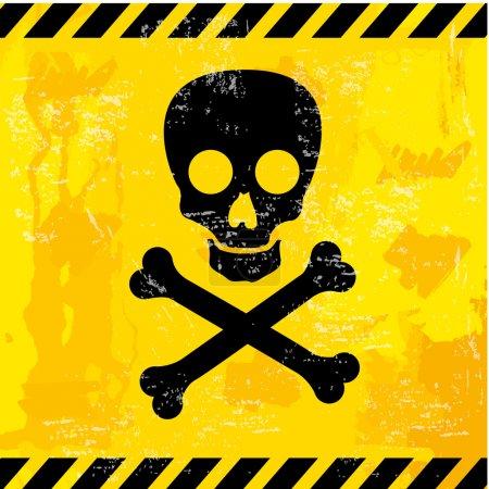 Illustration for Skull design over yellow background vector illustration - Royalty Free Image