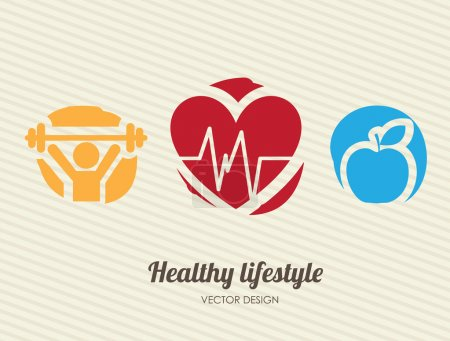 Illustration for Healthy lifestyle over lineal background vector illustration - Royalty Free Image