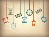 Time icons over vintage background vector illustration