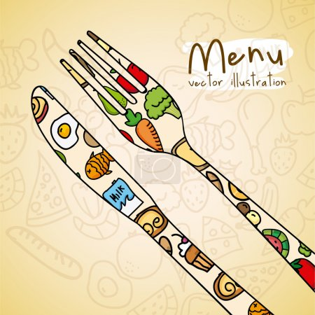 Illustration pour Alimentation saine sur fond crème illustration vectorielle - image libre de droit
