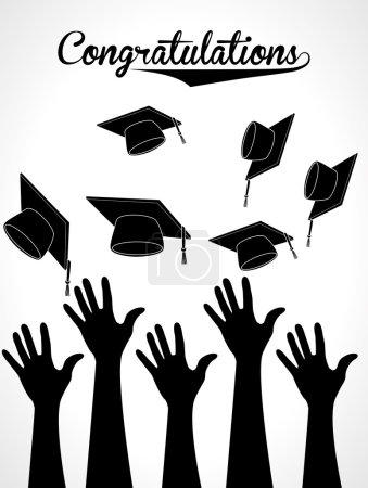 Illustration for Graduation label over white background vector illustration - Royalty Free Image