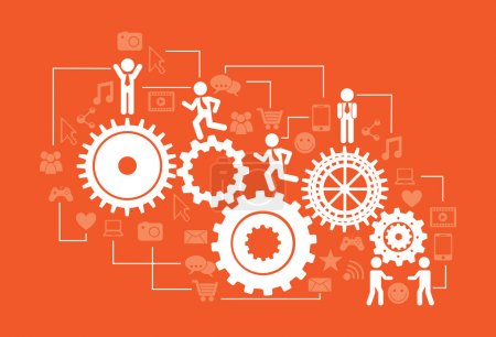 Illustration for Connectivity infographics over orange background vector illustration - Royalty Free Image