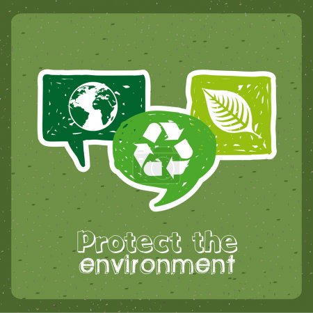 Illustration for Protect the environment over green background vector illustration - Royalty Free Image