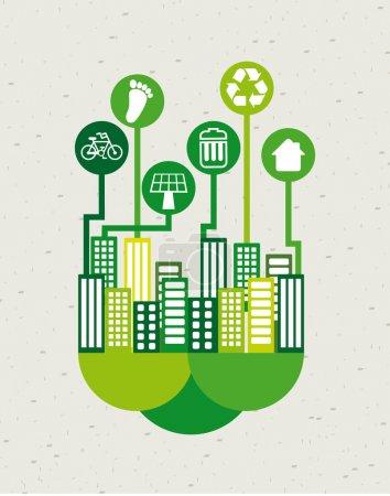 Illustration pour Eco ville sur motif fond vectoriel illustration - image libre de droit