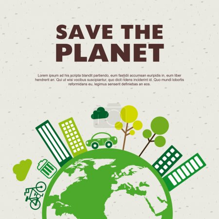 Save the planet design over pattern background vec...