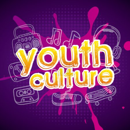 Illustration for Youth culture over purple background vector illustration - Royalty Free Image