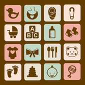 Baby icons over brown background vector illustration