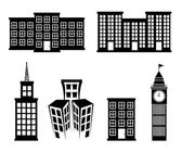 Buildings icons over white background vector illustration