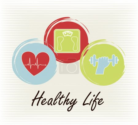 Illustration for Healthy life over lineal background vector illustration - Royalty Free Image