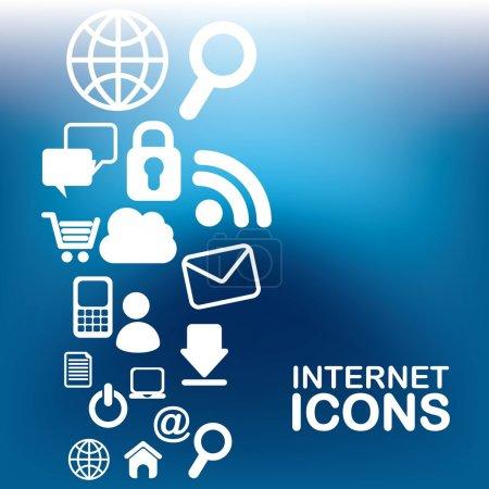 Illustration pour Icônes internet sur fond bleu illustration vectorielle - image libre de droit