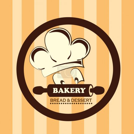 Illustration for Bakery design over lineal background vector illustration - Royalty Free Image