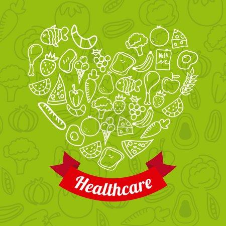 Illustration for Healthy food over green background vector illustration - Royalty Free Image