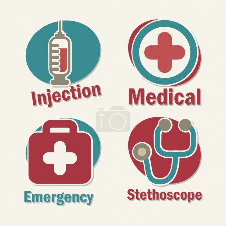 Illustration for Healthy icons over white background vector illustration - Royalty Free Image