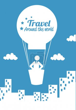 Illustration for Travel arround the world over blue background vecor illustration - Royalty Free Image