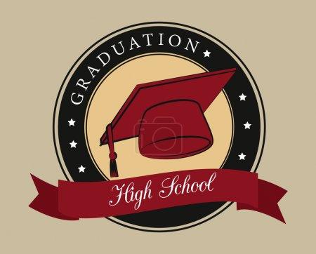 Illustration for Graduation design over beige background vector illustration - Royalty Free Image