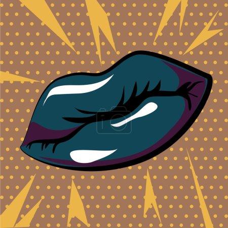 Illustration for Mouth design over dotted background vector illustration - Royalty Free Image