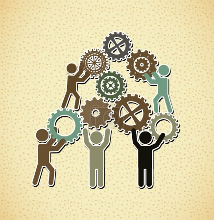 Illustration for Teamwork design over pattern background vector illustration - Royalty Free Image