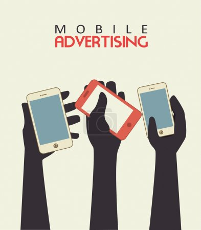 Illustration for Mobile advertising over beige background vector illustration - Royalty Free Image