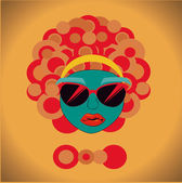 Afro style design over yellow background vector illustration